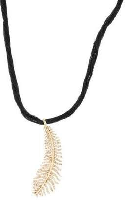 Mizuki 14K Diamond Feather Pendant Necklace