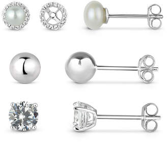 FINE JEWELRY Lab-Created White Sapphire Sterling Silver Earring Jackets With 5MM Pearl, 5MM Sterling Silver Ball, and 5MM Lab-Created White Sapphire 4-Piece Earri