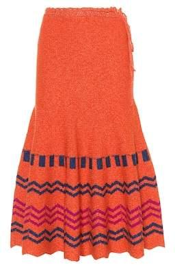 Valentino Printed wool skirt