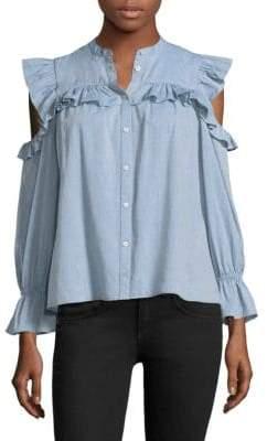 Joie Akari Cold-Shoulder Ruffle Shirt