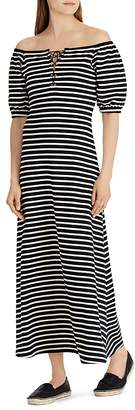 Lauren Ralph Lauren Striped Off-the-Shoulder Maxi Dress