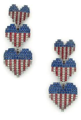Elizabeth Cole Patriotic Crystal Drop Earrings
