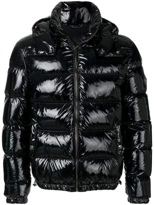 Versace patent-look puffer jacket