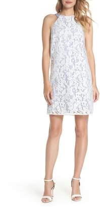 Maggy London Pinstripe Lace Overlay Shift Dress