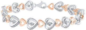 FINE JEWELRY 1/10 CT. T.W. Genuine White Diamond 14K Rose Gold Over Silver Sterling Silver Heart 7.5 Inch Tennis Bracelet