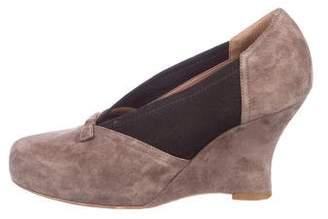 Tabitha Simmons Suede Round-Toe Wedges