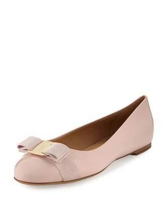 Salvatore Ferragamo Varina Patent Bow Ballerina Flat, Bon Bon $525 thestylecure.com