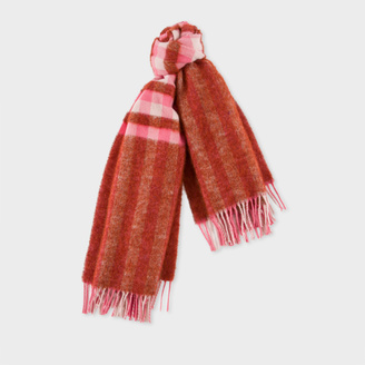Women's Red Fluffy Gingham Wool-Blend Scarf $125 thestylecure.com