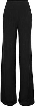 Rick Owens Lilies Rib-Paneled Stretch-Knit Wide-Leg Pants