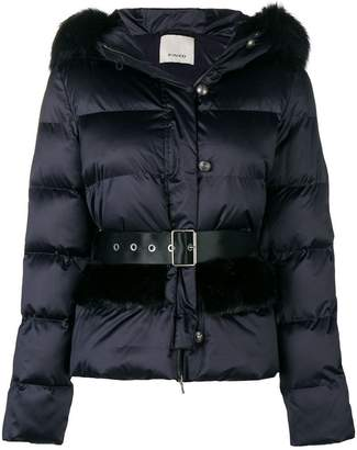 Pinko fur hood trim padded jacket