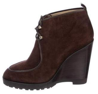 e09cd75bab8f Michael Kors Suede Wedge Boots - ShopStyle