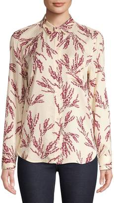 Equipment Long-Sleeve Floral Print Button-Front Blouse