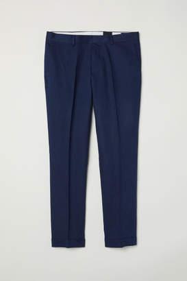 H&M Slim Fit Cropped Suit Pants - Blue