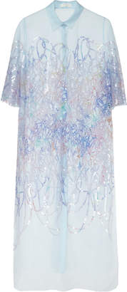 DELPOZO Sequined Tulle Top