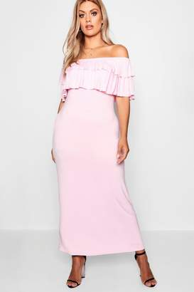 boohoo Plus Off Shoulder Ruffle Maxi Dress