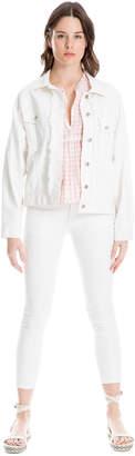 Max Studio stretch twill white denim jacket