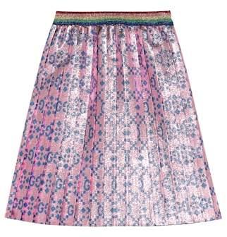 Gucci Kids Metallic lurex pleated skirt