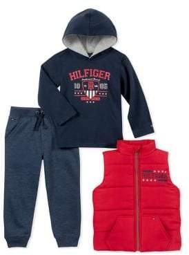 Tommy Hilfiger Baby Boy's Three-Piece Hoodie, Vest Jogger Pants Set