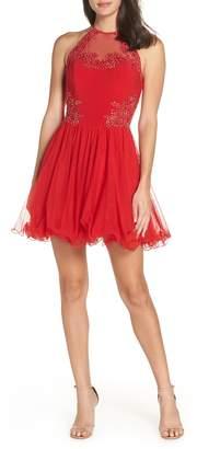Blondie Nites Applique Mesh Fit & Flare Halter Dress