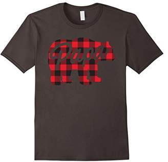 Mens Men's Plaid Papa Bear T-Shirt Awesome Camping Father's Tee