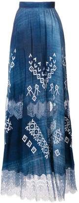Ermanno Scervino printed lace trim midi skirt