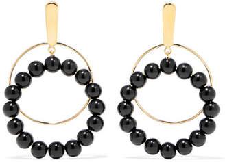 Marni Gold-plated Beaded Clip Earrings - Black