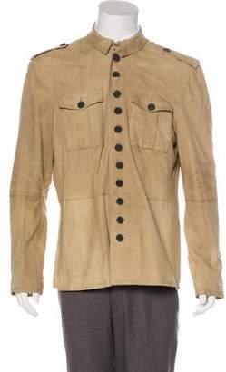 John Varvatos Suede Button-Up Jacket