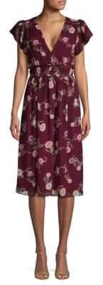 Max Studio Floral Flutter-Sleeve Knee-Length Dress