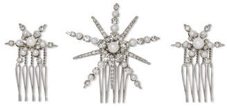 Swarovski LELET NY - Starlet Silver-plated, Crystal And Faux Pearl Hair Slides