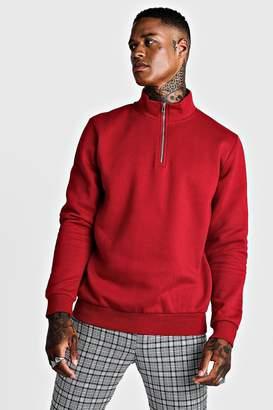 boohoo Half Zip Funnel Neck Sweater