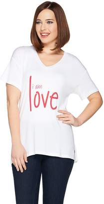 Peace Love World Short Sleeve Affirmation Print Knit Top