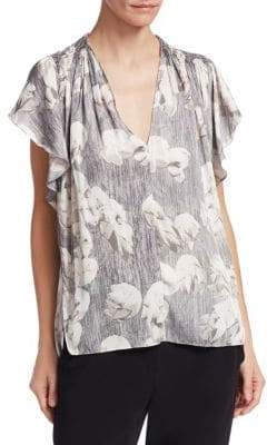 Halston Flounce-Sleeve Printed Ruched Blouse