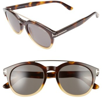Women's Tom Ford Newman 53Mm Round Sunglasses - Honey/ Rose Gold/ Green