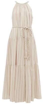 Apiece Apart Escondido Tiered Striped Cotton Maxi Dress - Womens - Multi