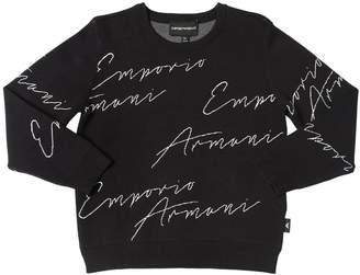 Emporio Armani Logo Viscose Jacquard Knit Sweater