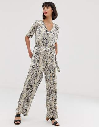 Selected snake print jumpsuit