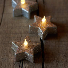 Stern-Teelicht Line LED champagner glitter 6er-Set