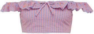 Solid & Striped 'The Paloma' stripe seersucker off-shoulder bikini top