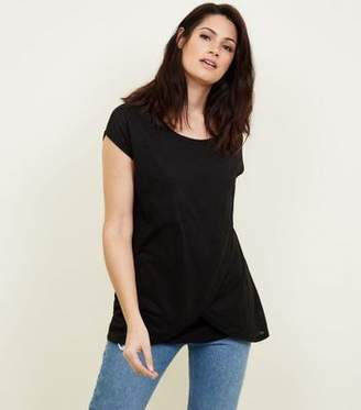 New Look Maternity Black Wrap Front Nursing T-Shirt