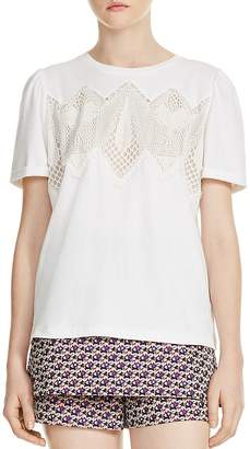 Maje Tody Lace-Inset Tee
