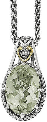 Couture FINE JEWELRY Shey Green Quartz Sterling Silver Antiqued Pendant Necklace