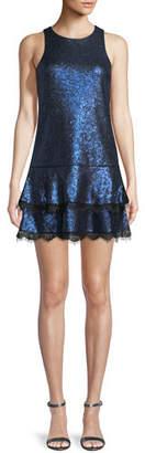 Jay Godfrey JAY X JAYGODFREY Joso Lace-Trim Sequin Mini Dress