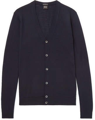 HUGO BOSS Mardon Slim-Fit Virgin Wool Cardigan - Navy