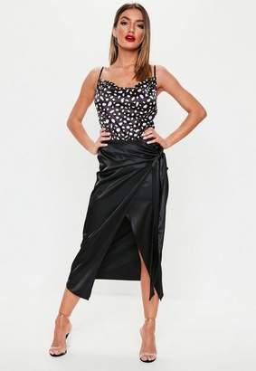 Missguided Black Satin Wrap Front Midi Skirt