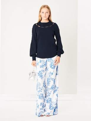 Oscar de la Renta Floral Toile Stretch-Silk Georgette Wide-Leg Pants