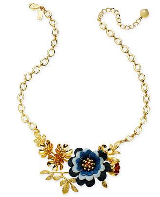 "Kate Spade Gold-Tone Denim Flower Statement Necklace, 17"" + 3"" extender"