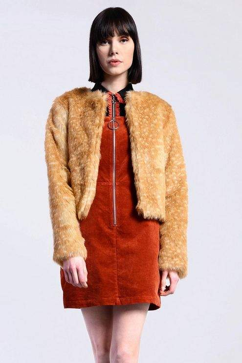 **Dotted Faux Fur Jacket