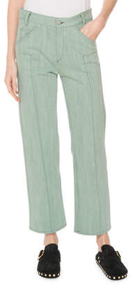 Isabel Marant Golky Mid-Rise Wide-Leg Cropped Jeans