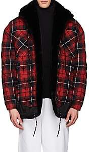 Balenciaga Men's Layered-Look Oversized Shirt Jacket - Red