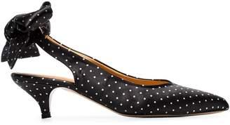 Ganni black Sabine 50 polka dot bow satin pumps